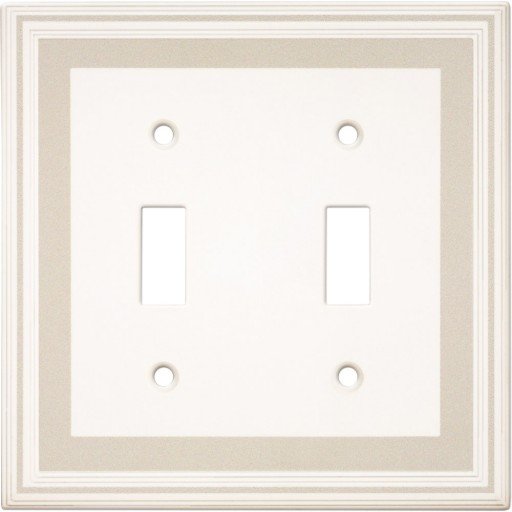 Double Toggle Color Accents Wall Plate - Grey