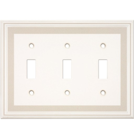 Triple Toggle Color Accents Wall Plate - Grey