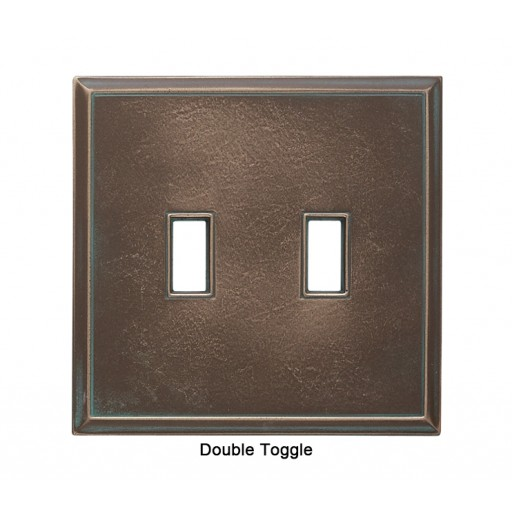 Classic Antique Bronze Verdigris Magnetic Double Toggle Wall Plate