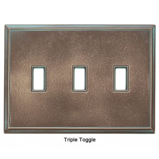 Classic Antique Bronze Verdigris Magnetic Triple Toggle Wall Plate