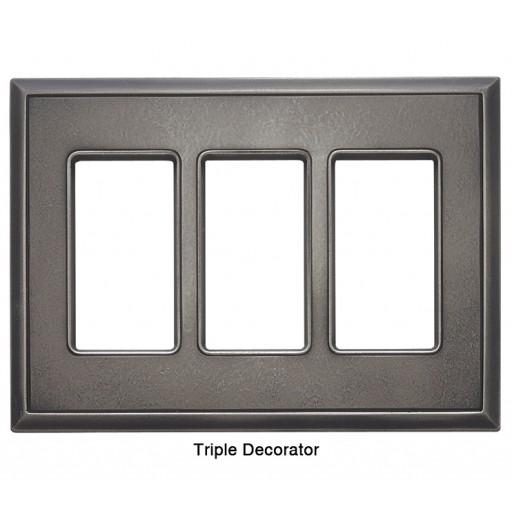 Classic Timeworn Steel Magnetic Triple Decorator Wall Plate