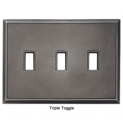 Classic Timeworn Steel Magnetic Triple Toggle Wall Plate