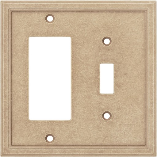Single Toggle/GFCI Combo Cast Stone Wall Plate - Sienna
