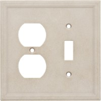 Single Toggle Duplex Combo Cast Stone Wall Plate - Sand