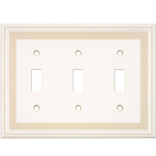 Triple Toggle Color Accents Wall Plate - Beige