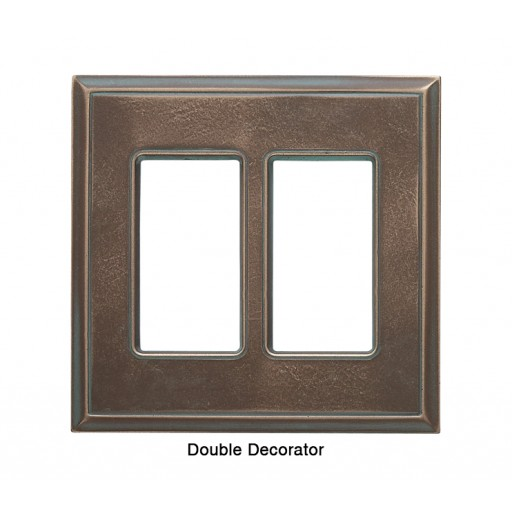 Classic Antique Bronze Verdigris Magnetic Double Decorator Wall Plate