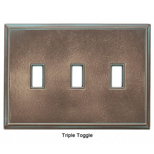 Classic Antique Bronze Verdigris Magnetic Triple Toggle Wall Plate