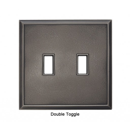 Classic Timeworn Steel Magnetic Double Toggle Wall Plate