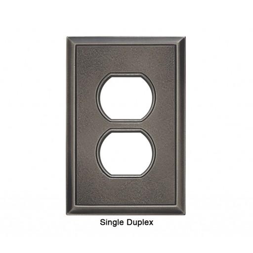 Classic Timeworn Steel Magnetic Single Duplex Wall Plate
