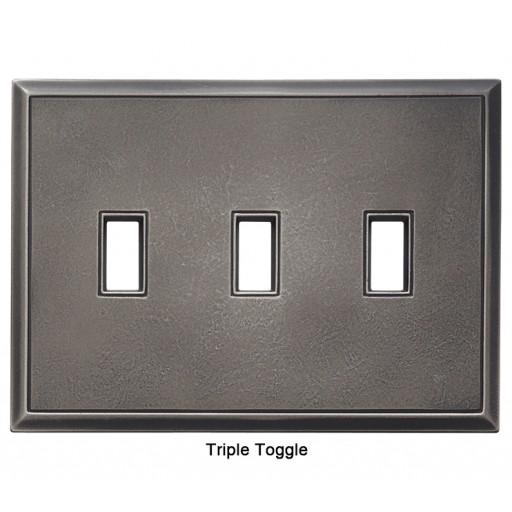Classic Timeworn Steel Magnetic Triple Toggle Wall Plate