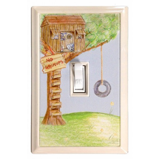 No Grown-Ups Tree House Kid's Deco Magnetic Wall Plate