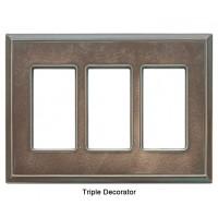 Classic Antique Bronze Verdigris Magnetic Triple Decorator Wall Plate