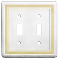 Double Toggle Color Accents Wall Plate - Beige
